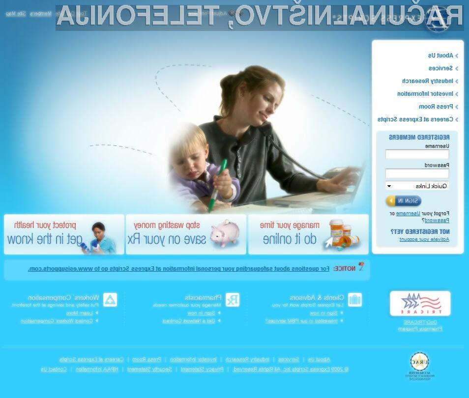Osebni podatki uporabnikov spletne strani Express Scripts so v rokah brezobzirnih spletnih kriminalcev.