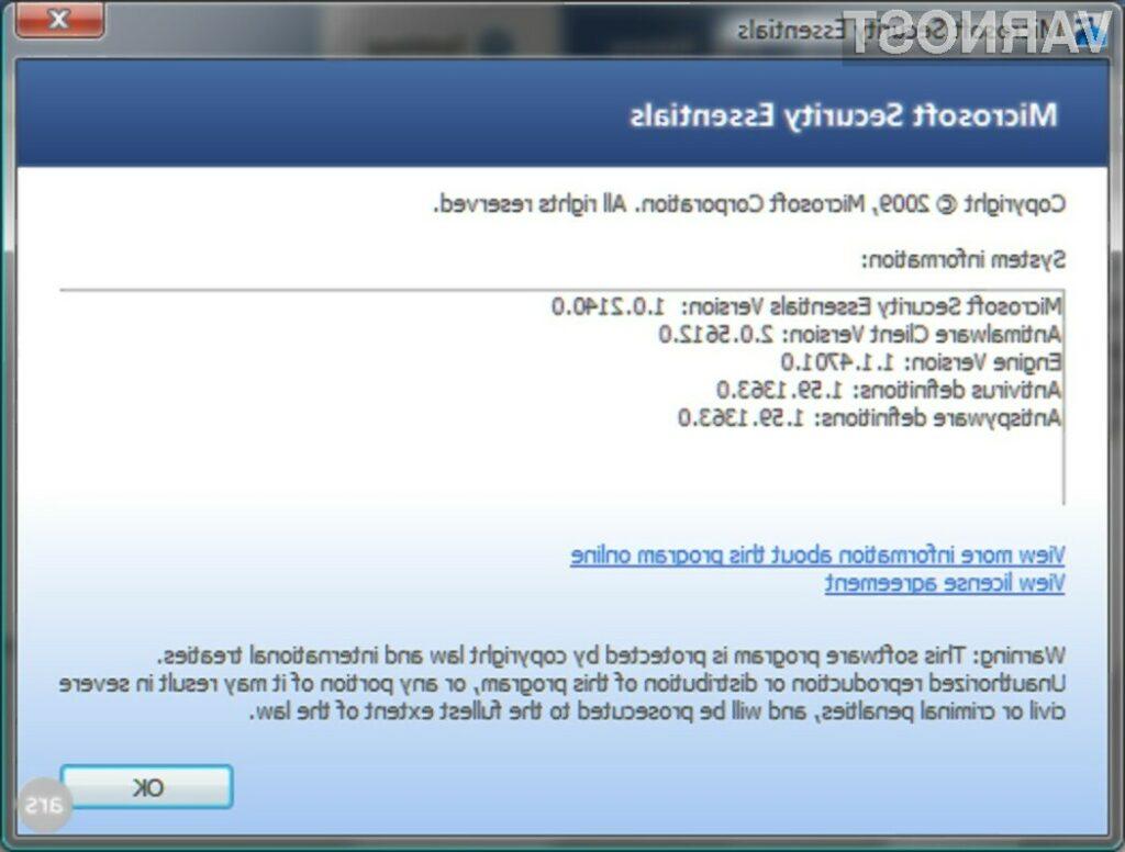 Brezplačen protivirusnik Microsoft Security Essentials