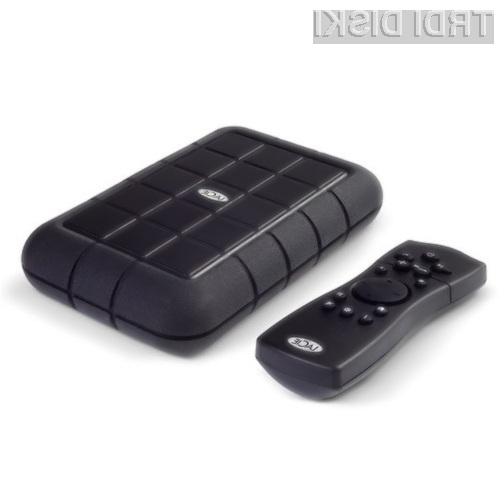Zunanjemu trdemu disku LaCie LaCinema Rugged HD je priložen praktični daljinski upravljavec.
