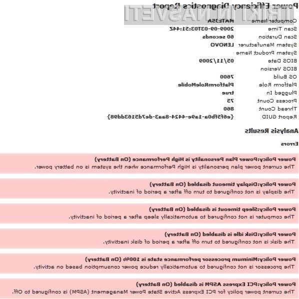 Z enim ukazom do izčrpnega poročila o energetski učinkovitosti prenosnika.