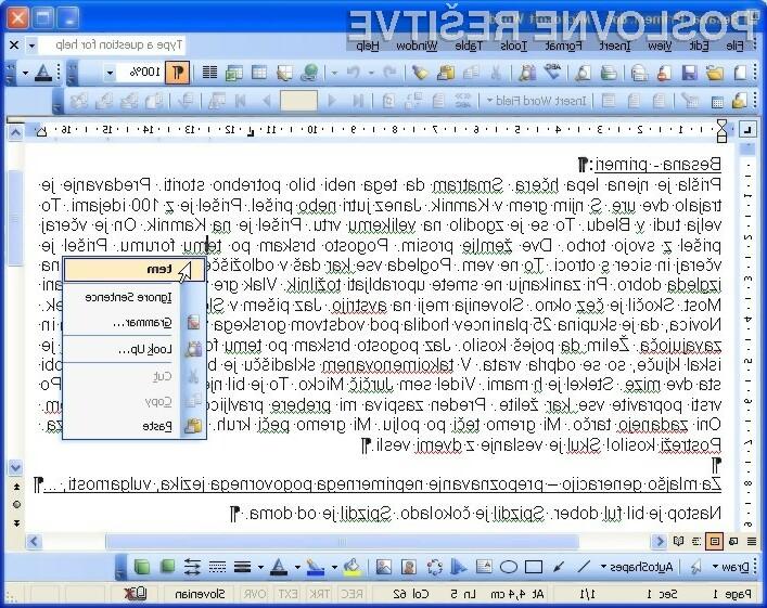 Na sliki je primer sprotnega preverjanja slovničnih napak - integracija Amebis Besane v Microsoft Word. Slovnične napake Amebis Besana podčrta zeleno.