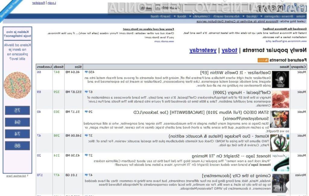 Na spletni strani Mininova je iz dneva v dan manj obiskovalcev.