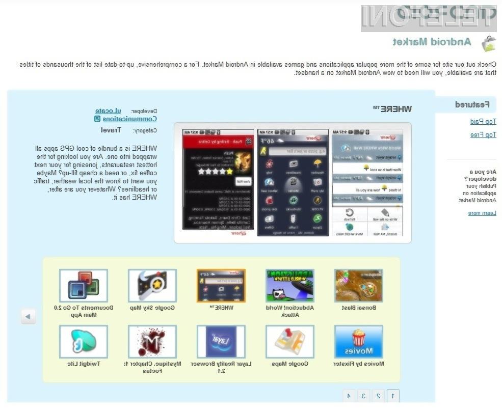 Na portalu Android Market mrgoli brezplačnih aplikacij za mobilnike s platformo Android.
