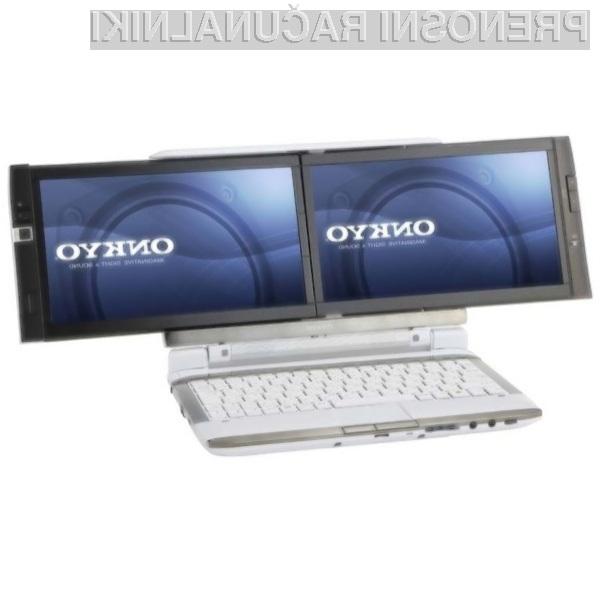 Vsestransko uporaben in oblikovno všečen dvozaslonski prenosni računalnik Onkyo DX 107A5.