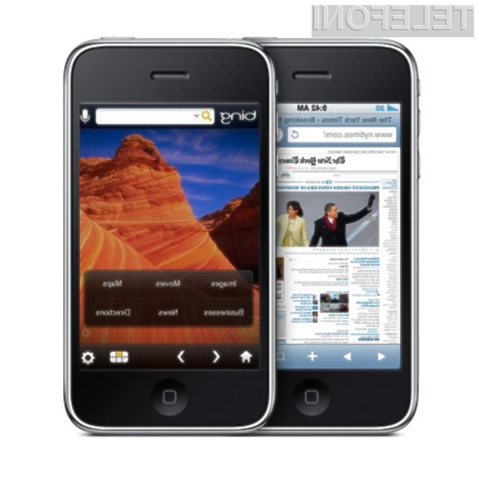 Bo Applov večpredstavnostni mobilni telefoni iPhone kmalu bogatejši za spletni iskalnik Bing?