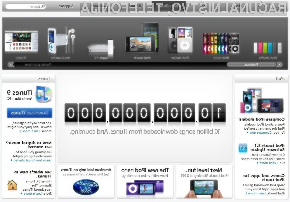 Spletna prodajalna iTunes Store je dosegla občudovanja vreden mejnik prenosa skladb!