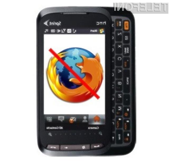 Uporabniki pametnih mobilnih telefonov s platformo Windows Mobile so ostali brez mobilnega Firefoxa!