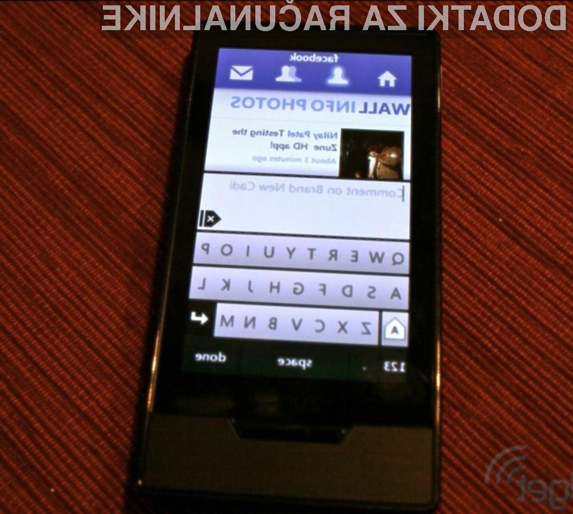 Prenosni Microsoftov večpredstavnostni predvajalnik Zune HD je bogatejši za socialno mrežo Facebook.