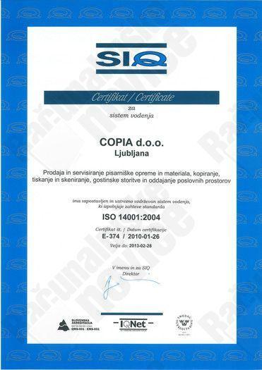 COPIA pridobila okoljevarstveni certifikat ISO14001