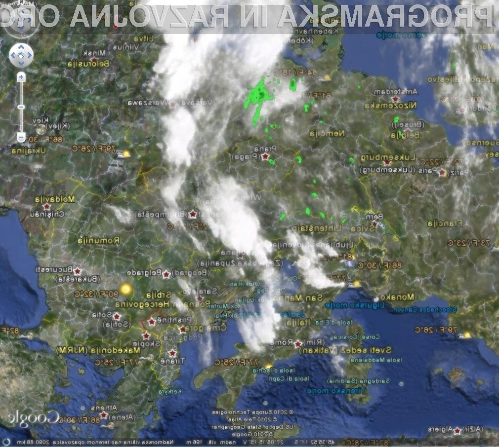 S prenovljenim programom Google Earth lahko spremljamo vremenske razmere v realnem času.