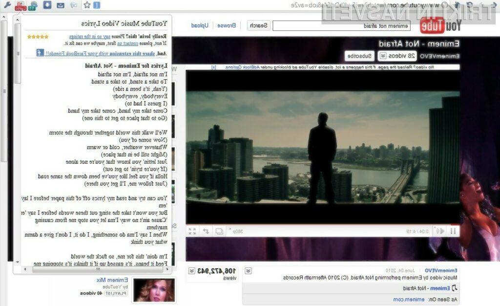 Z dodatkom YouTube Music Video Lyrics hitreje do glasbenih besedil.