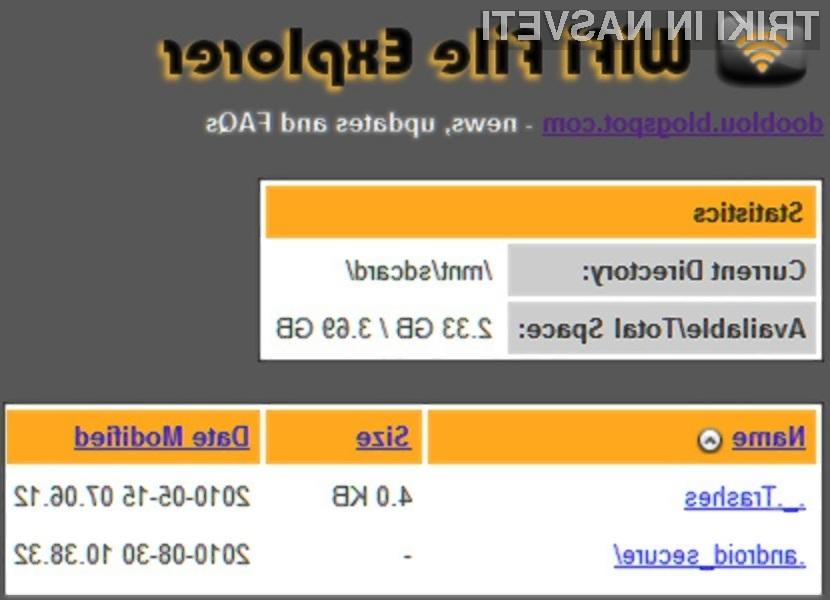 Programska oprema WiFi File Explorer je sila preprosta za uporabo!
