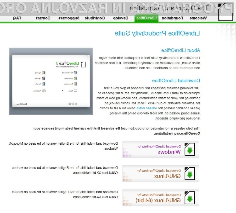 Priljubljeni brezplačni pisarniški paket OpenOffice se je (začasno) preimenoval v LibreOffice.
