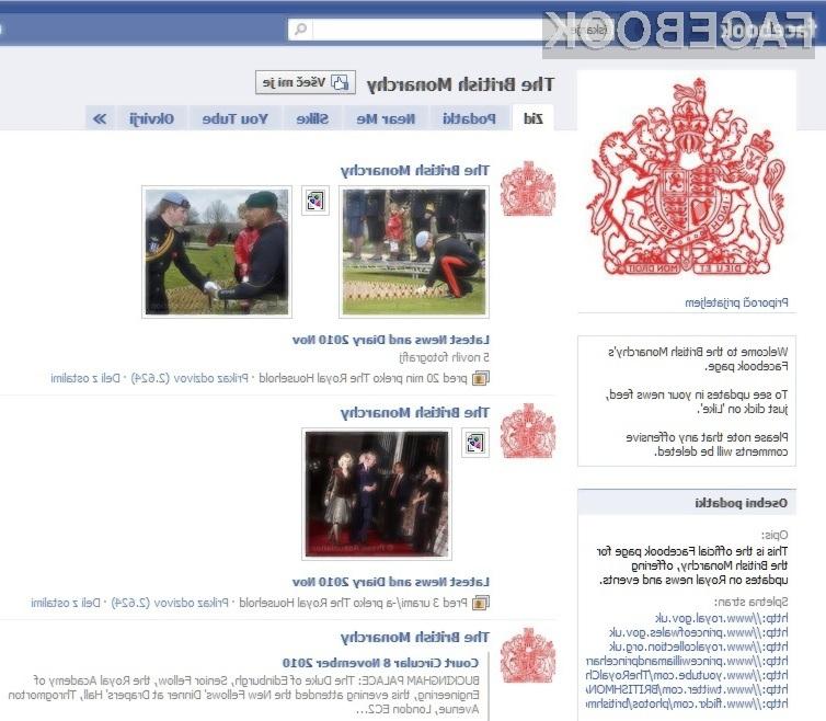 Britanska monarhija je odslej prisotna še na socialnem omrežju Facebook!