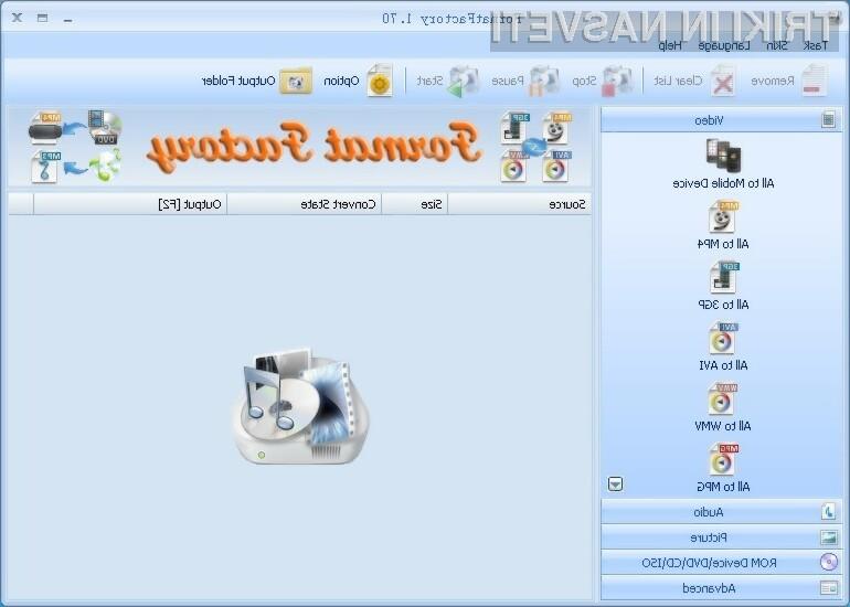 Program Format Factory podpira bogato paleto večpredstavnostnih vsebin.