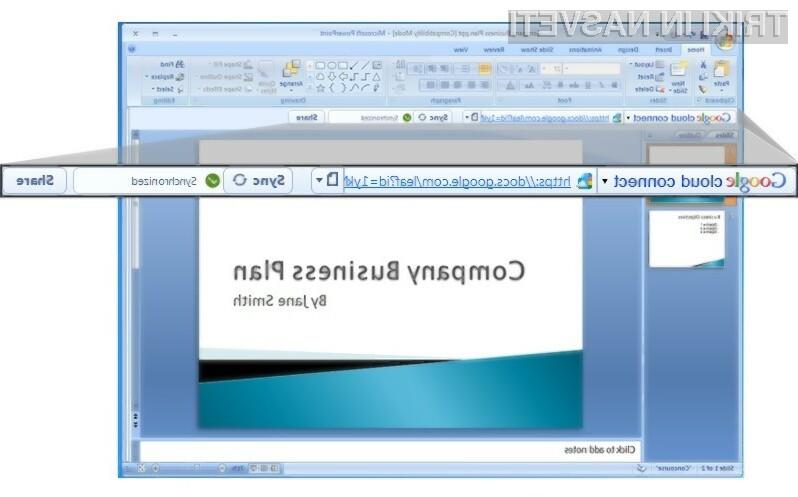 Vtičnik Google Cloud Connect je združljiv z Microsoftovimi pisarniškimi paketi Office 2003, 2007 in 2010.