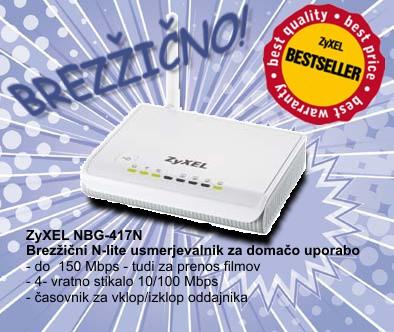 Prodajna uspešnica - brezžični usmerjevalnik ZyXEL NBG-417N