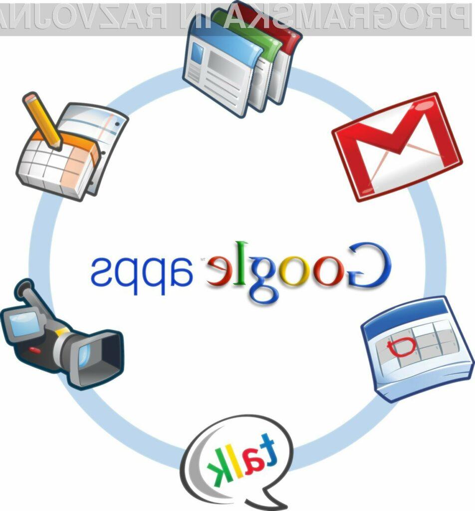 Trenutno so v Google Apps na voljo storitve Google Docs, Gmail, Google Calendar in Google Sites