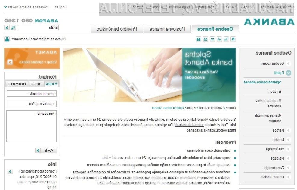 Resnična ali lažna spletna stran spletne banke Abanet?