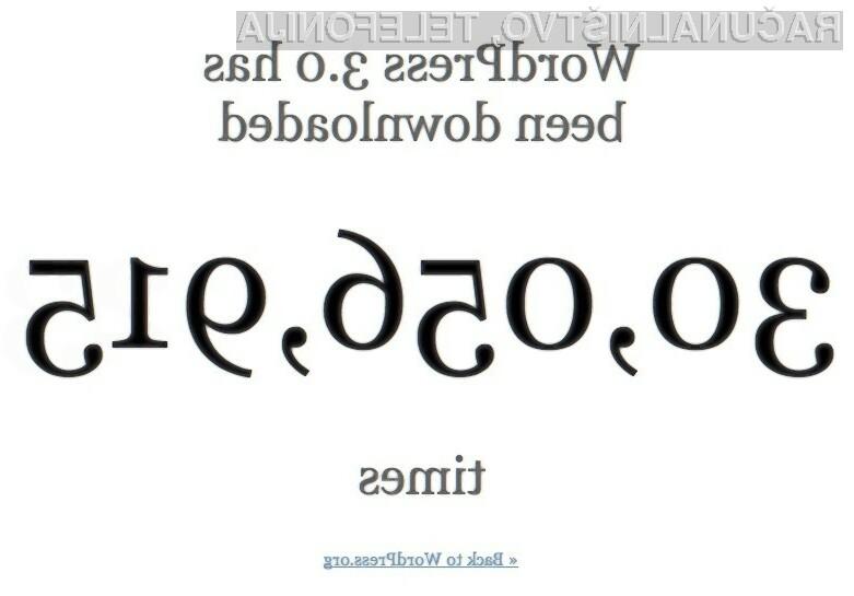 Več kot 30 milijonov prenosov za Wordpress 3.0