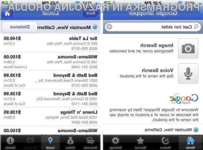 Google Shopper tudi za iPhone in iPod touch