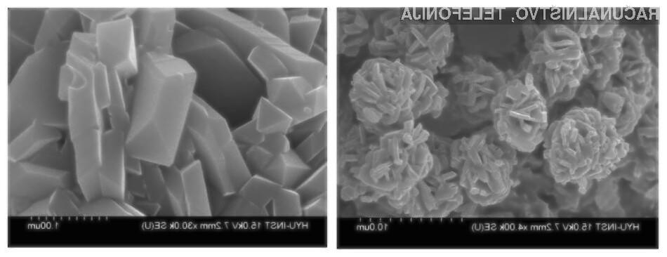 Izgled katode pod elektronskim mikroskopom, sestavljene iz litij-manganovega oksida.