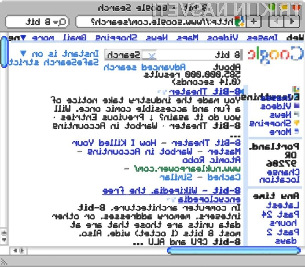 Spletni iskalnik Google v osembitnem načinu