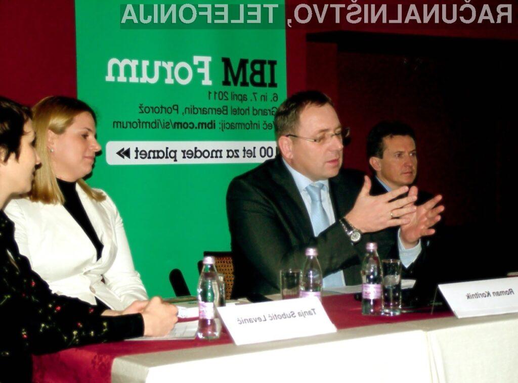 IBM Forum 2011 so predstavili: Dejan Podgoršek, direktor prodaje STG GI, IBM CEE regija, Roman Koritnik, generalni direktor IBM Slovenija, in Tanja Subotič Levanič, direktorica marketinga in korporativnega komuniciranja, IBM Slovenija.