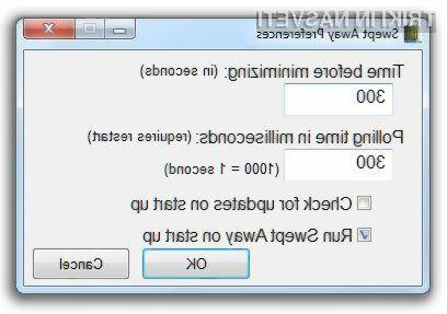 Uporabniški vmesnik programa Swept Away ne ponuja veliko nastavitev.