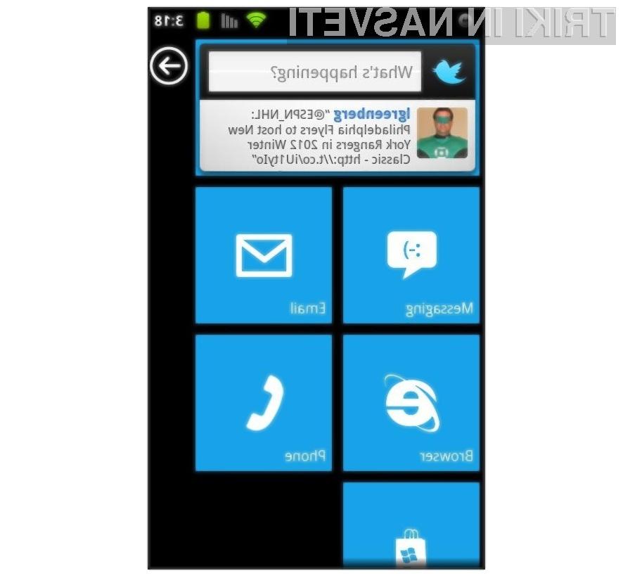 Grafični vmesnik Windows Phone 7 se odlično prilega mobilnikom Android.