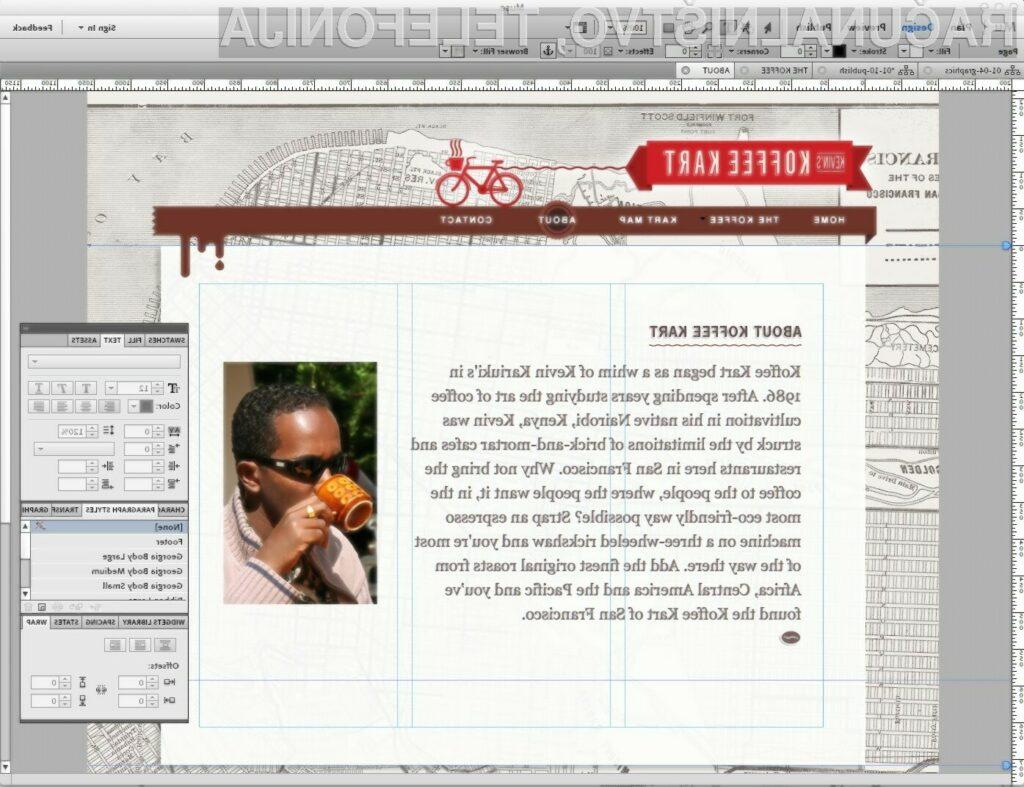 Aplikacija s kodnim imenom Muse, temelji na platformi AIR, uporabnikom pa omogoča ustvarjanje spletnih strani na način, ki je podoben ustvarjanju v programskih orodij kot sta Adobe Illustrator in InDesign.