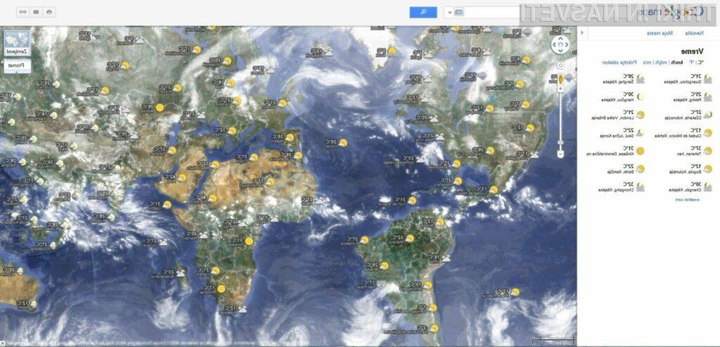 Če vas morda kdaj zanima, kakšno je vreme v tem trenutku po vsem svetu, vam bo prav prišla funkcionalnost Google Mapsa.