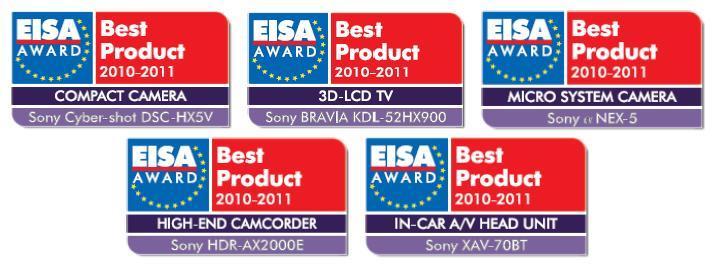 SONY na EISA 2011-2012 prejel naziv »Best product« za štiri svoje izdelke.
