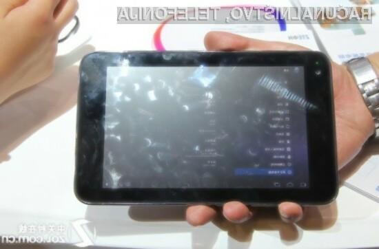 Sedempalčni ZTE-jev tablični računalnik temelji na operacijskem sistemu Android 3.2.