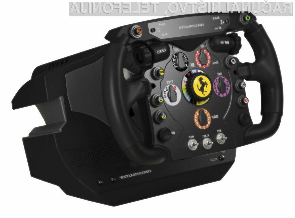 Kar je  TM Wathog HOTAS  za ljubitelje simulacije letenja, je ta Trhustmasterov volan za vse ljubitelje Codemasterjeve simulacije F1.