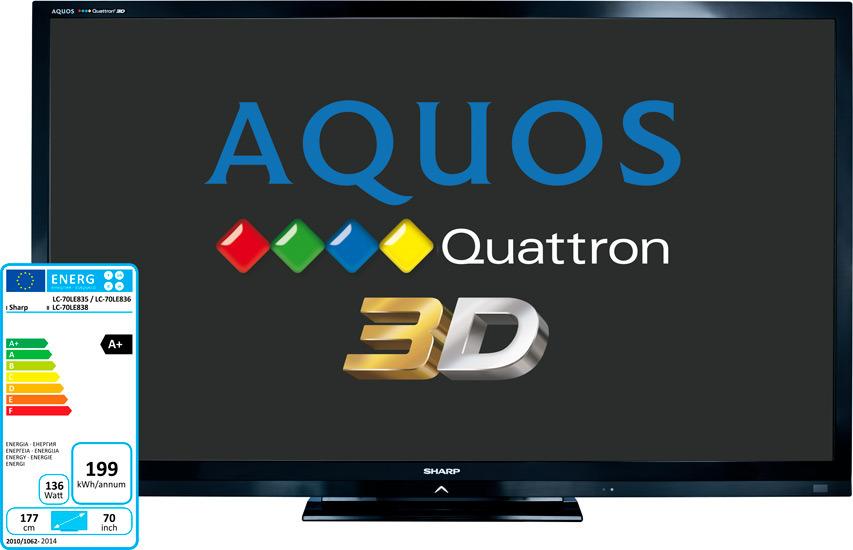 SHARP 3D BIG Smart LED TV LC-70LE835E diagonala zaslona 177cm!
