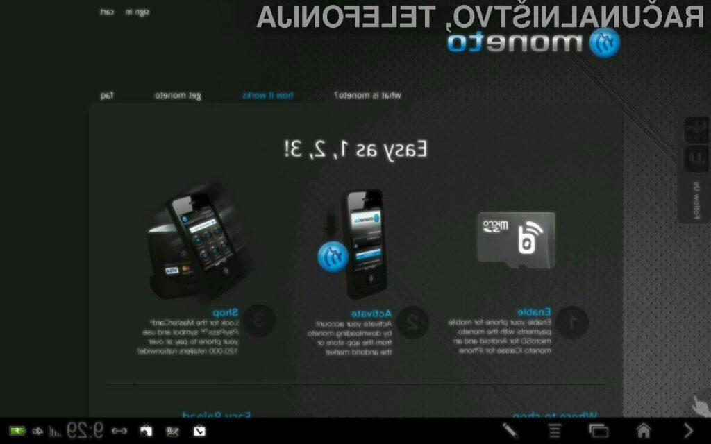 Sistem Moneto, bo s posebno microSD kartico, telefon spremenil v kompatibilno NFC napravo.