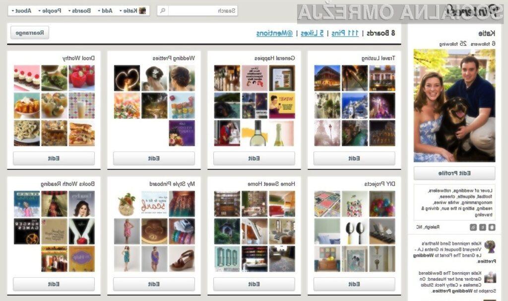 Pinterest je eden izmed najhitreje rastočih servisov za izmenjavo vsebin.