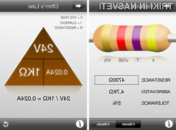Enostaven, hiter in pameten prikaz vrednosti tako za upore kot kondenzatorje.