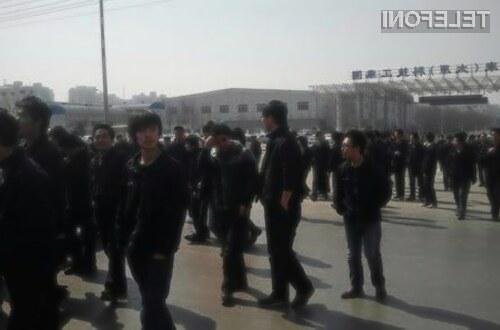 Foxconnovi delavci v kitajski provinci Xiaodian so zaradi nizkih plač prekinili z delom.