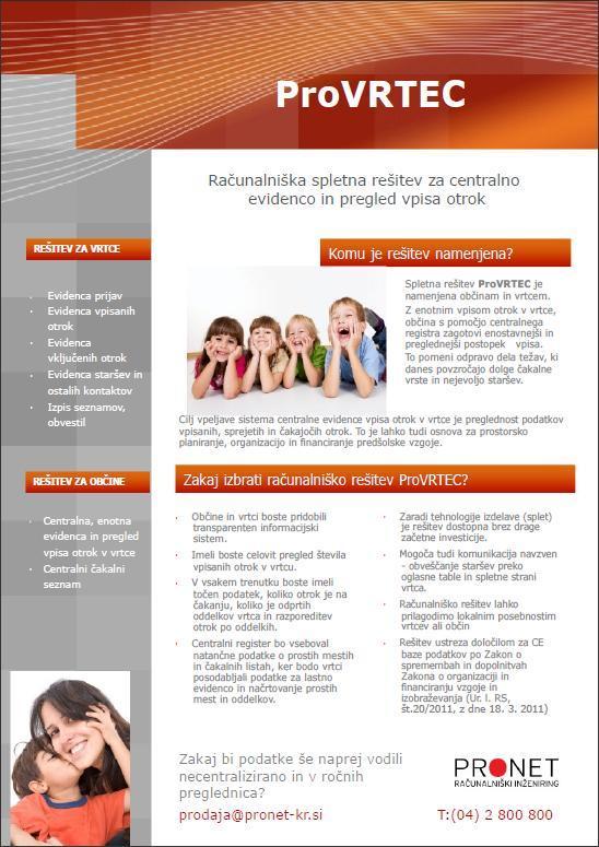 ProVRTEC - IS za centralno evidenco in pregled vpisa otrok v vrtce