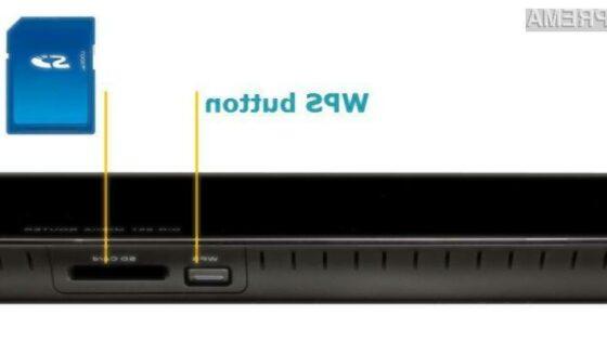 WPS gumb za enostavno nastavljanje omrežja in samodejno dodelitev močnega gesla ter reža za SD kartico