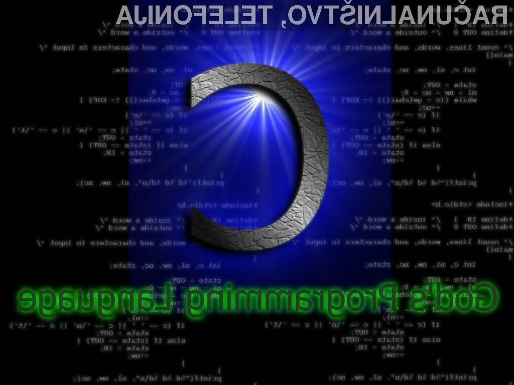 Sodeč po raziskavi je trenutno najpopularnejši razvojni programski jezik C.