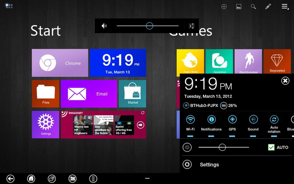 Uporabniški vmesnik Metro se nadvse prilega mobilnim napravam Android.