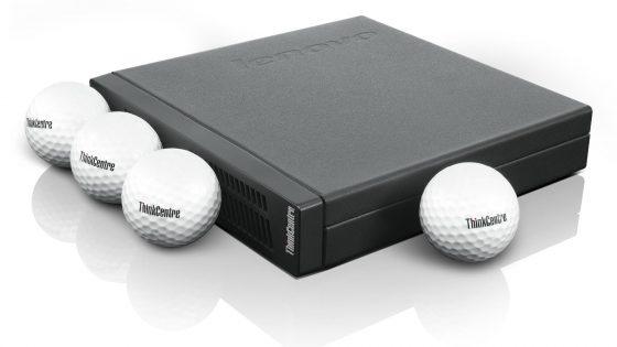 Lenovo z namiznim računalnikom debeline golf žogice