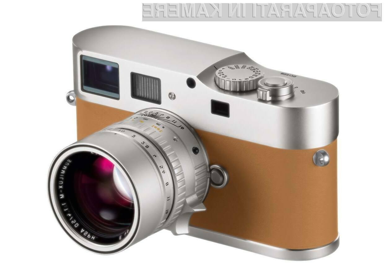 Ogrodje kamere Leica M9-P je obogateno s tako imenovano »Veau Swift«  telečjo kožo.