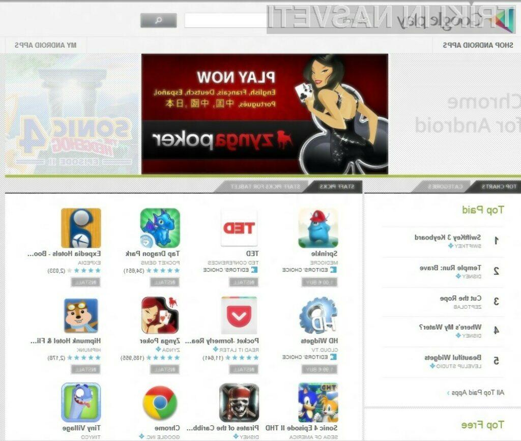 Spletni portal Google Play olajšuje nameščanje in posodobitve ter odstranitve mobilnih aplikacij!