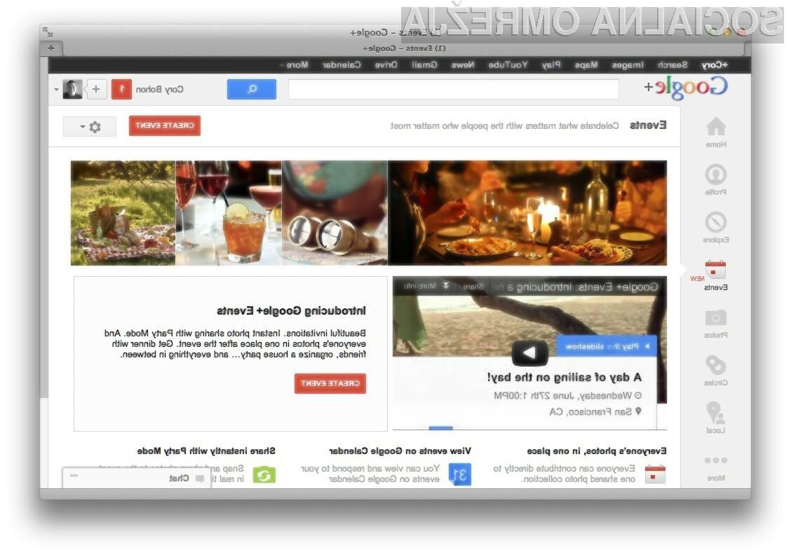 Uporabniki Google+ bodo lahko po novem v omrežju dodajali tudi posebne dogodke.