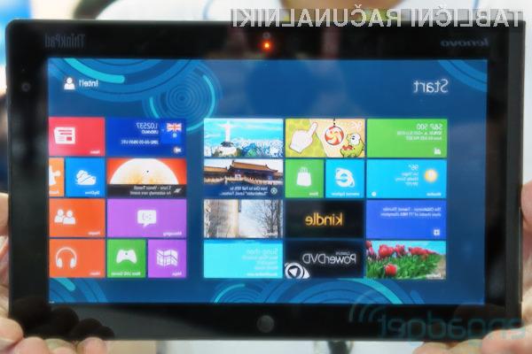Nov tablični računalnik podjetje Lenovo bo deloval na novem Microsoftovem operacijskem sistemu Windows 8.