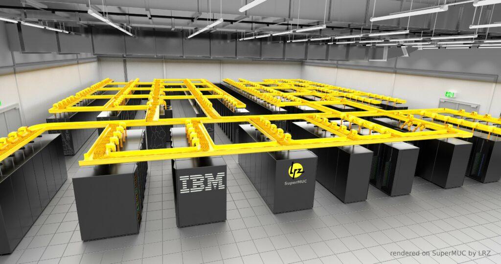 Superračunalnik SuperMUC se ohlaja s pomočjo posebnega IBM-ovega vodnega hladilnega sistema.